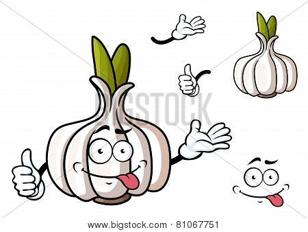 Cartoon garlic vegetable with green sprouts