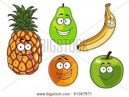 Cartoon apple, banana, orange, pineapple and pear fruits