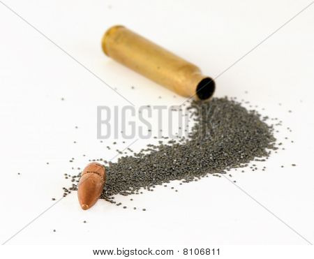 A disassembled M-16 bullet