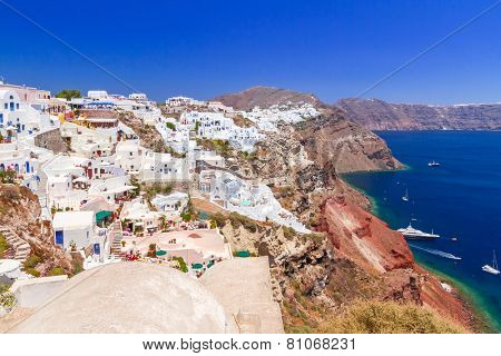 Santorini island with white buildings, Oia town, Greece