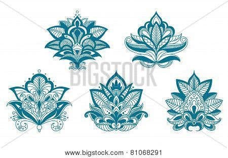 Outlined paisley lace blue flowers