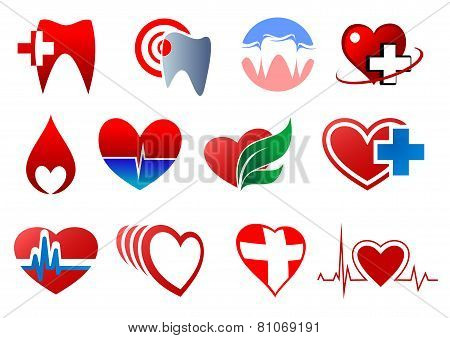 Cartoon teeth and hearts for dentistry design