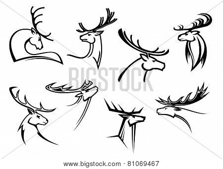 Proud profile of deer in outline style