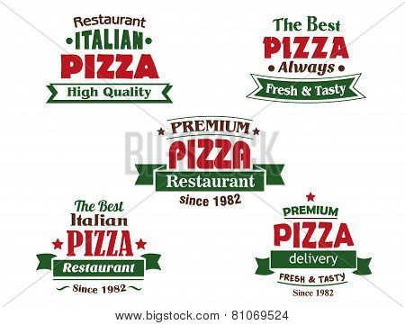 Italian pizza restaurant logo design elements