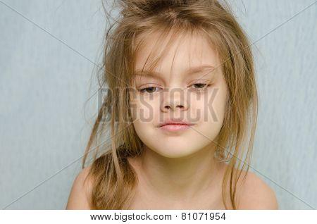 Portrait Of Girl Awakened Early In The Morning