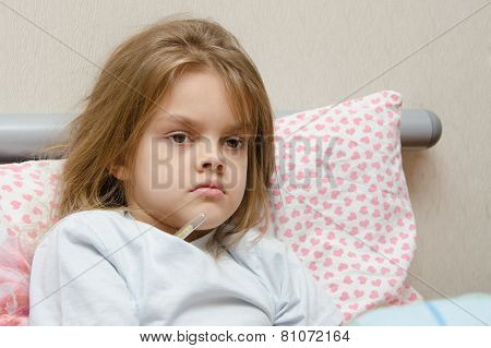 Six Year Old Girl In Bed Temperature Of