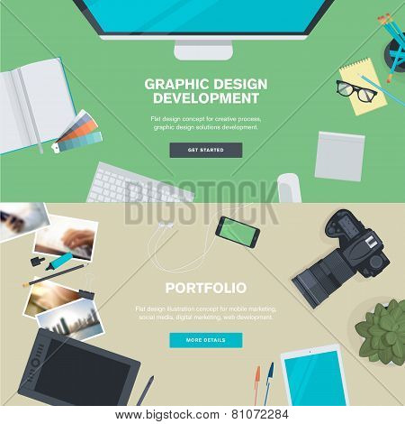 Set of flat design illustration concepts for graphic design development and portfolio
