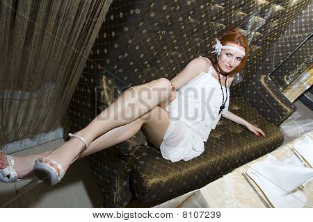 Retro Woman On Couch