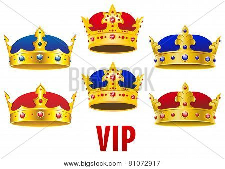 Cartoon golden crowns with jewels and velvet