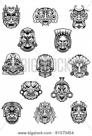 African ritual ceremonial masks in outline style