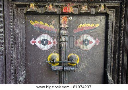 Ancient Wooden Door With Buddha Eyes In Kathmandu, Nepal