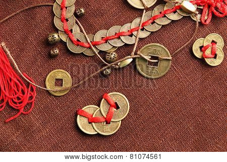 Feng shui coins on table close-up
