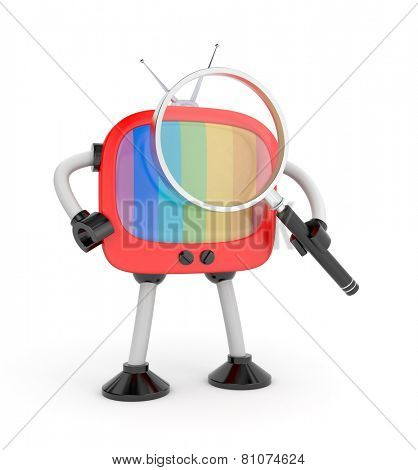 Tv robot with magnify glass