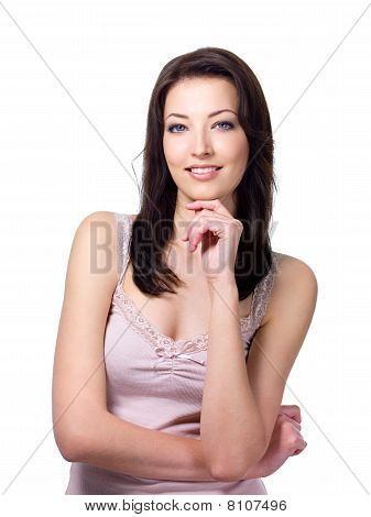 Smiling Woman In Thoughtful