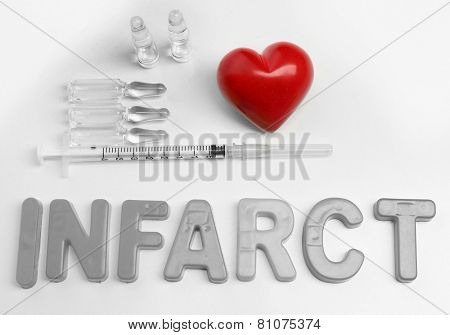 Medicines with word Infarct on white background