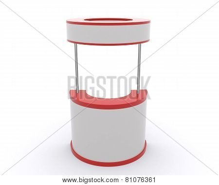 Trade exhibition stand and blank roll banner 3d render isolated - Template for designers