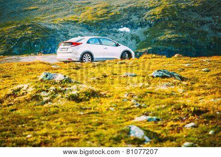 Honda Civic car on Norway nature landscape