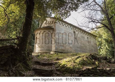 Stone Chapel At San Quilico In Central Corsica