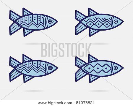 Fish illustration in ethnic style