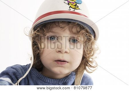 cute little boy with protect cap
