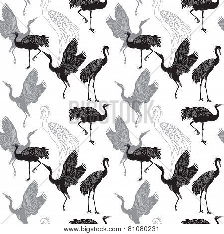 Cranes Birds Seamless Pattern