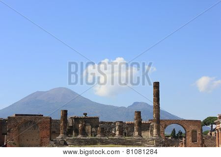View Of The The Temple Of Jupiter With Vesuvius Volcano