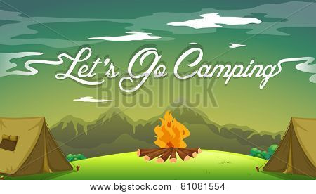 A poster showing a campsite with a campfire