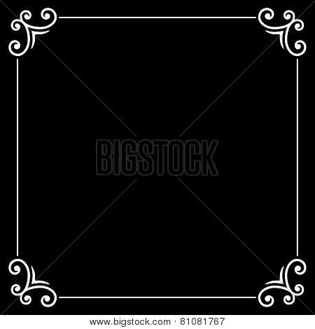Retro Silent Movie Calligraphic Frame on Black Screen. Vector
