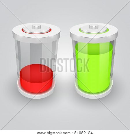 Vector glass battery symbol illustration