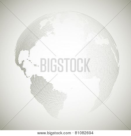 Dotted world globe, light design vector illustration