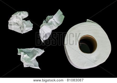 white toilet paper isolated on black blackground