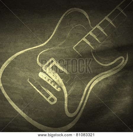 Vector grunge guitar, grunge music   easy editable