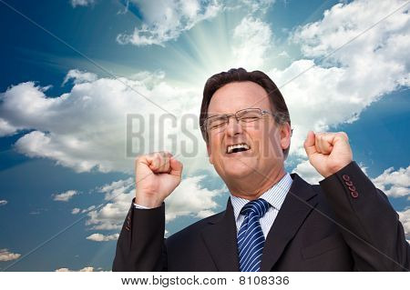 Excited Businessman  Expresses His Excitement Outside