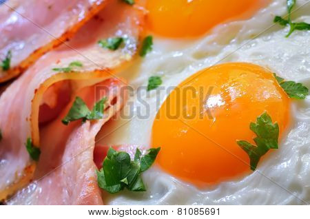 Breakfast With Bacon And Fried Eggs