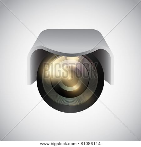 Vector CCTV camera on white background