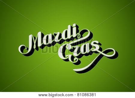 vector handwritten lettering Mardi Gras or Shrove Tuesday label