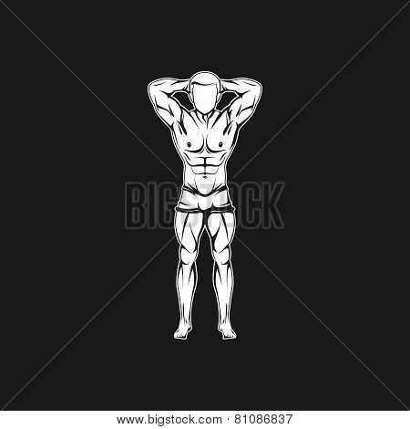 Vector illustration of muscled man body silhouette. fitness or bodybuilding logo concept