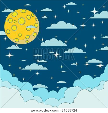 Night beautiful moonlit sky, vector illustration