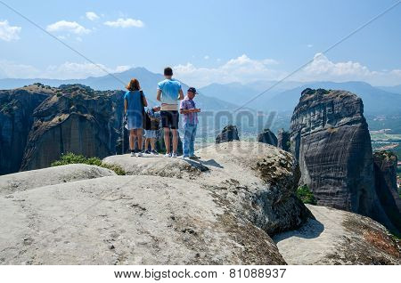 Tourists On A Viewing Platform In Meteors (greece)