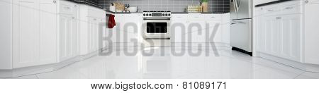 Panorama of a clean white kitchen with oven and tiles (3D Rendering)