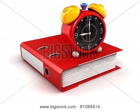 folder and alarm clock