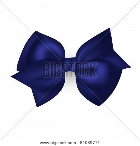 Isolated blue photorealistic silk bow for your holiday design.