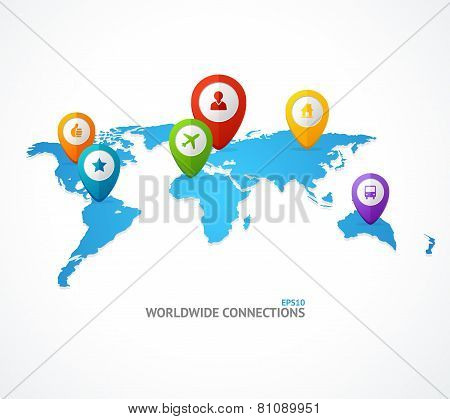 Vector World Map with color geo location pin