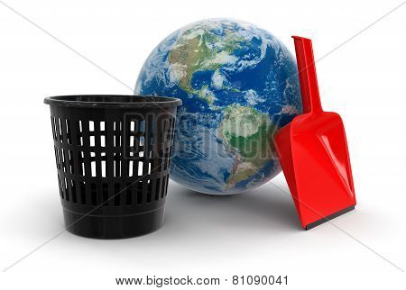 Globe, Bucket and dustpan (clipping path included)