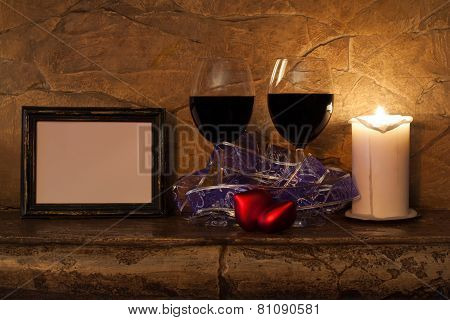 Two Glasses Of Wine, Candle And Teddy Red Heart