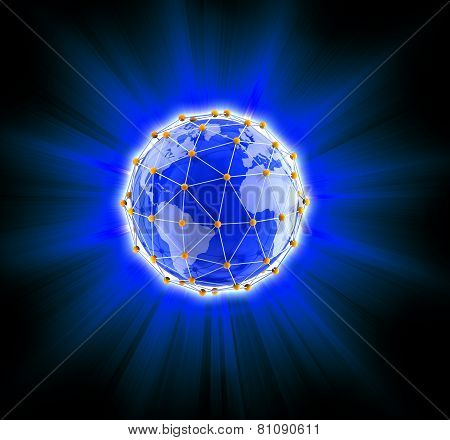 Network globe on light