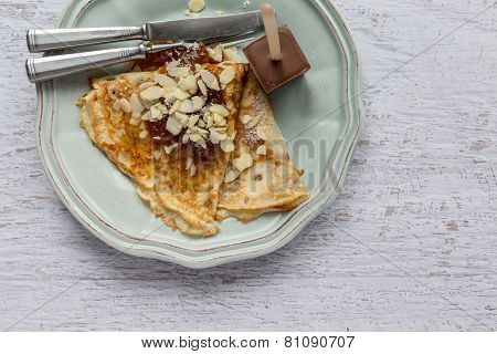 Food Background Of Pancake With Jam