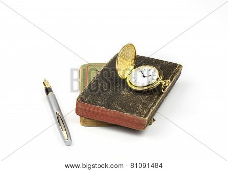 Books Pen and Watch