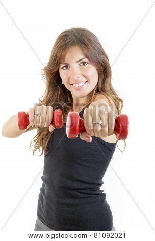 Caucasian Happy Female Fitness Model