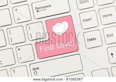 White Conceptual Keyboard - Find Love (pink Key)